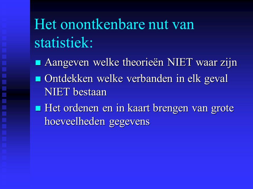 Het onontkenbare nut van statistiek:  Aangeven welke theorieën NIET waar zijn  Ontdekken welke verbanden in elk geval NIET bestaan  Het ordenen en