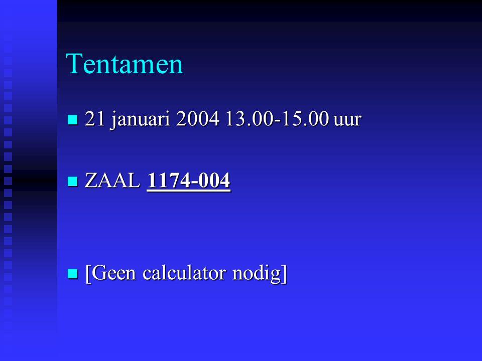 Tentamen  21 januari 2004 13.00-15.00 uur  ZAAL 1174-004  [Geen calculator nodig]