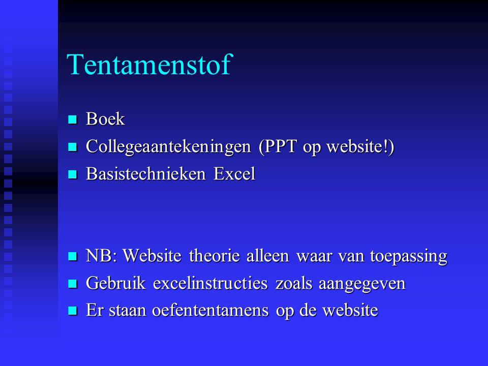 Tentamenstof  Boek  Collegeaantekeningen (PPT op website!)  Basistechnieken Excel  NB: Website theorie alleen waar van toepassing  Gebruik exceli