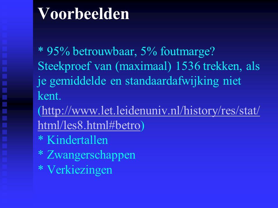 Voorbeelden * 95% betrouwbaar, 5% foutmarge? Steekproef van (maximaal) 1536 trekken, als je gemiddelde en standaardafwijking niet kent. (http://www.le
