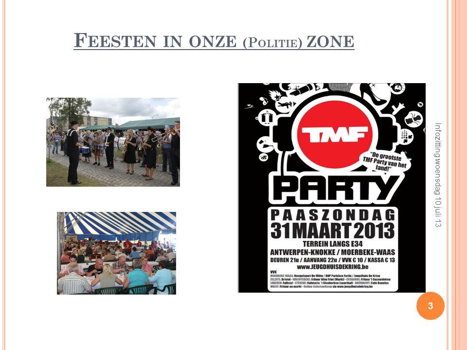 F EESTEN IN ONZE (P OLITIE ) ZONE 3 Infozitting woensdag 10 juli 13