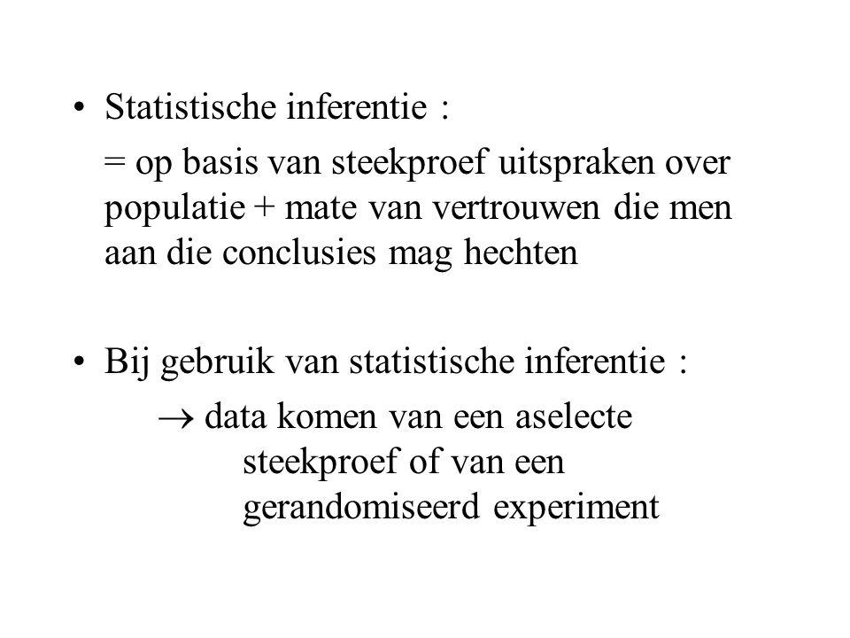 •Statistische inferentie : = op basis van steekproef uitspraken over populatie + mate van vertrouwen die men aan die conclusies mag hechten •Bij gebru
