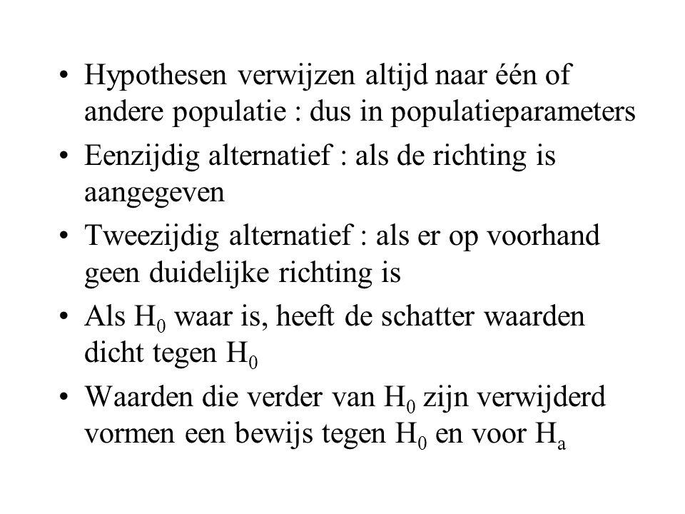 •Hypothesen verwijzen altijd naar één of andere populatie : dus in populatieparameters •Eenzijdig alternatief : als de richting is aangegeven •Tweezij