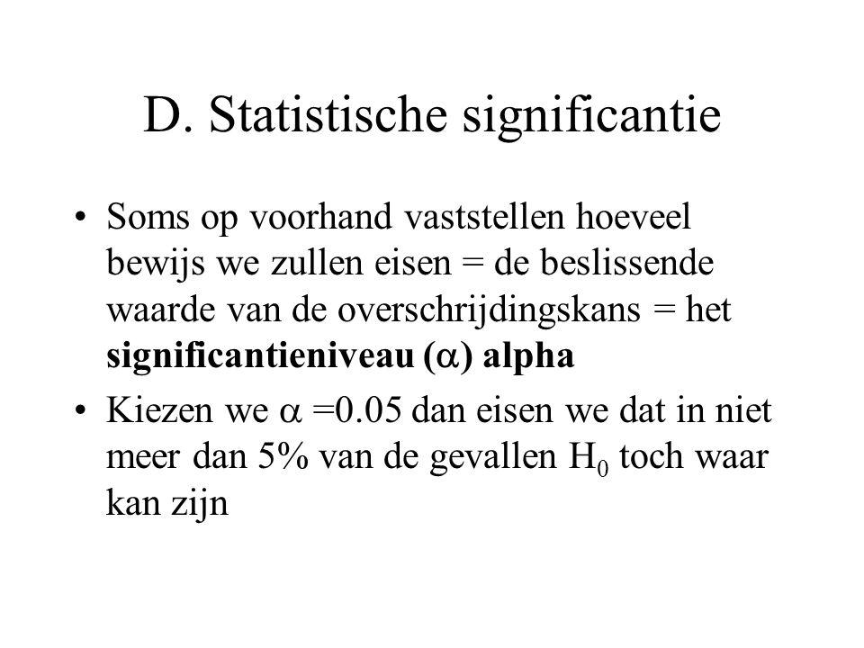 D. Statistische significantie •Soms op voorhand vaststellen hoeveel bewijs we zullen eisen = de beslissende waarde van de overschrijdingskans = het si
