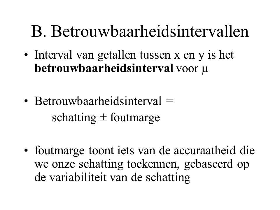 B. Betrouwbaarheidsintervallen •Interval van getallen tussen x en y is het betrouwbaarheidsinterval voor µ •Betrouwbaarheidsinterval = schatting  fou