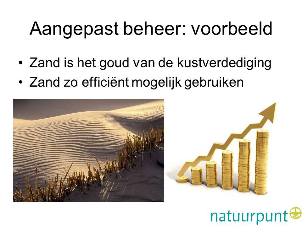 Aangepast beheer: voorbeeld •Zand is het goud van de kustverdediging •Zand zo efficiënt mogelijk gebruiken