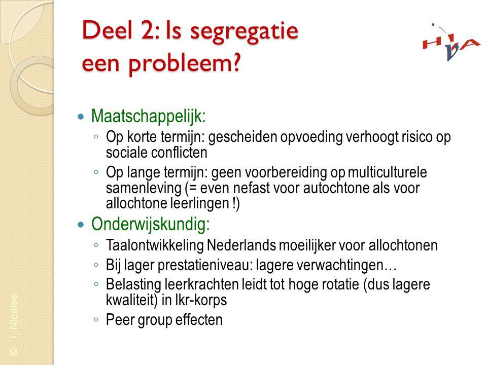 © I. Nicaise Deel 2: Is segregatie een probleem?  Maatschappelijk: ◦ Op korte termijn: gescheiden opvoeding verhoogt risico op sociale conflicten ◦ O
