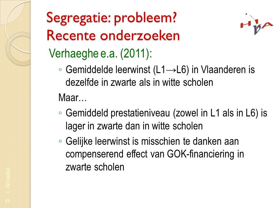 © I. Nicaise Segregatie: probleem? Recente onderzoeken Verhaeghe e.a. (2011): ◦ Gemiddelde leerwinst (L1→L6) in Vlaanderen is dezelfde in zwarte als i