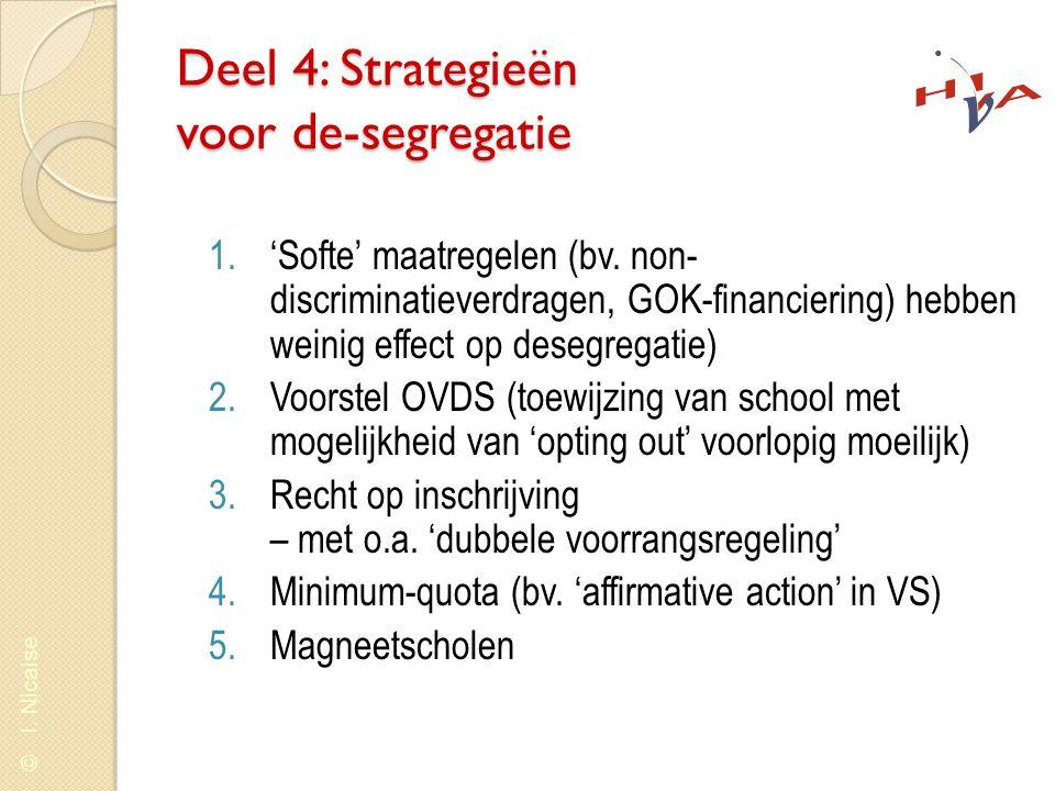 © I. Nicaise Deel 4: Strategieën voor de-segregatie 1.'Softe' maatregelen (bv. non- discriminatieverdragen, GOK-financiering) hebben weinig effect op