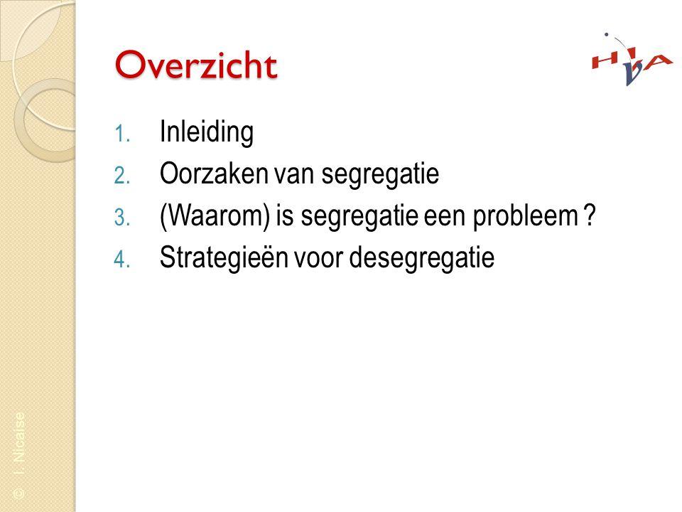 © I. Nicaise Overzicht 1. Inleiding 2. Oorzaken van segregatie 3. (Waarom) is segregatie een probleem ? 4. Strategieën voor desegregatie
