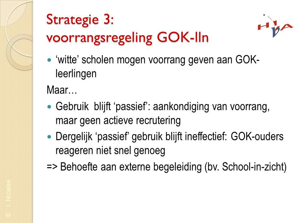 © I. Nicaise Strategie 3: voorrangsregeling GOK-lln  'witte' scholen mogen voorrang geven aan GOK- leerlingen Maar…  Gebruik blijft 'passief': aanko