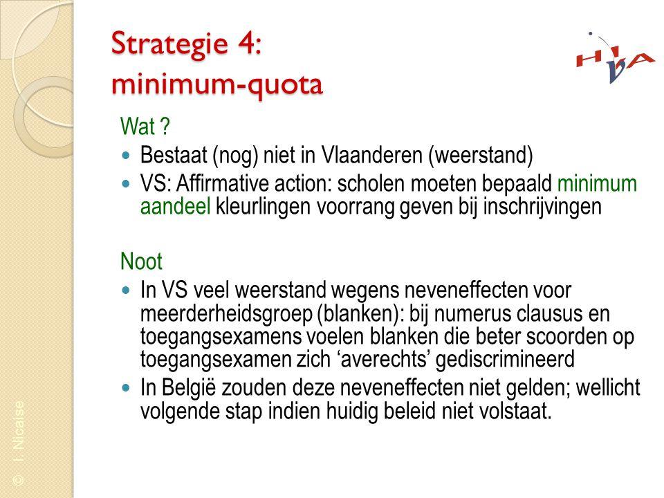 © I. Nicaise Strategie 4: minimum-quota Wat ?  Bestaat (nog) niet in Vlaanderen (weerstand)  VS: Affirmative action: scholen moeten bepaald minimum
