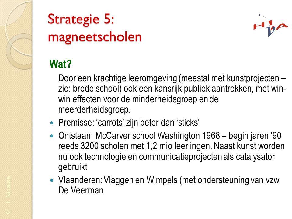 © I. Nicaise Strategie 5: magneetscholen Wat? Door een krachtige leeromgeving (meestal met kunstprojecten – zie: brede school) ook een kansrijk publie