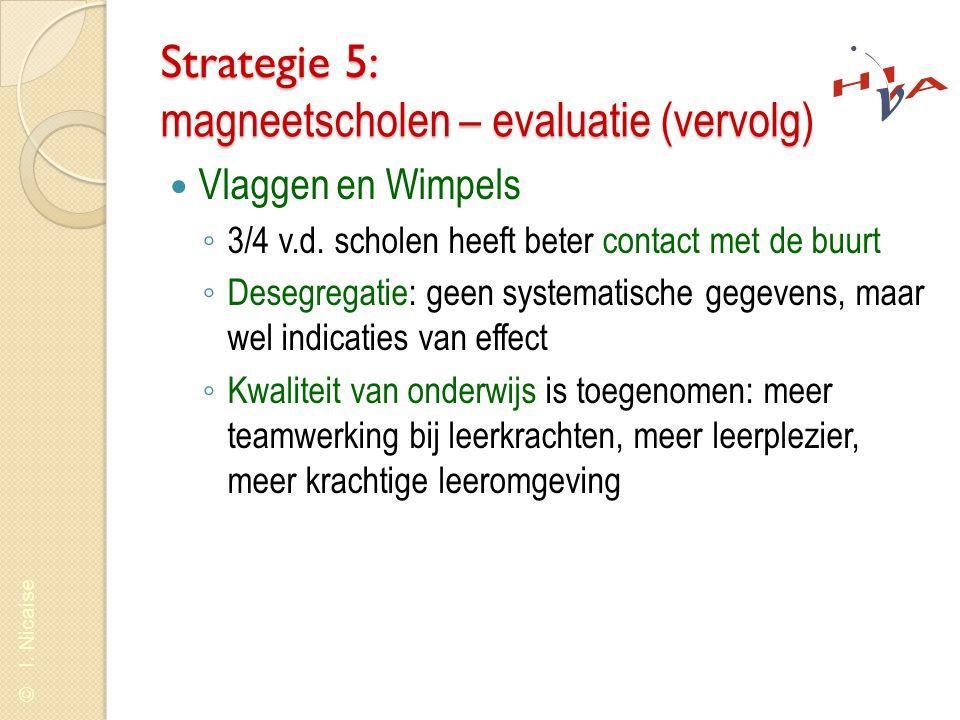 © I. Nicaise Strategie 5: magneetscholen – evaluatie (vervolg)  Vlaggen en Wimpels ◦ 3/4 v.d. scholen heeft beter contact met de buurt ◦ Desegregatie