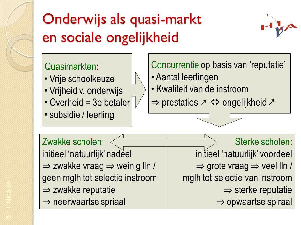 © I. Nicaise Onderwijs als quasi-markt en sociale ongelijkheid Quasimarkten: • Vrije schoolkeuze • Vrijheid v. onderwijs • Overheid = 3e betaler • sub
