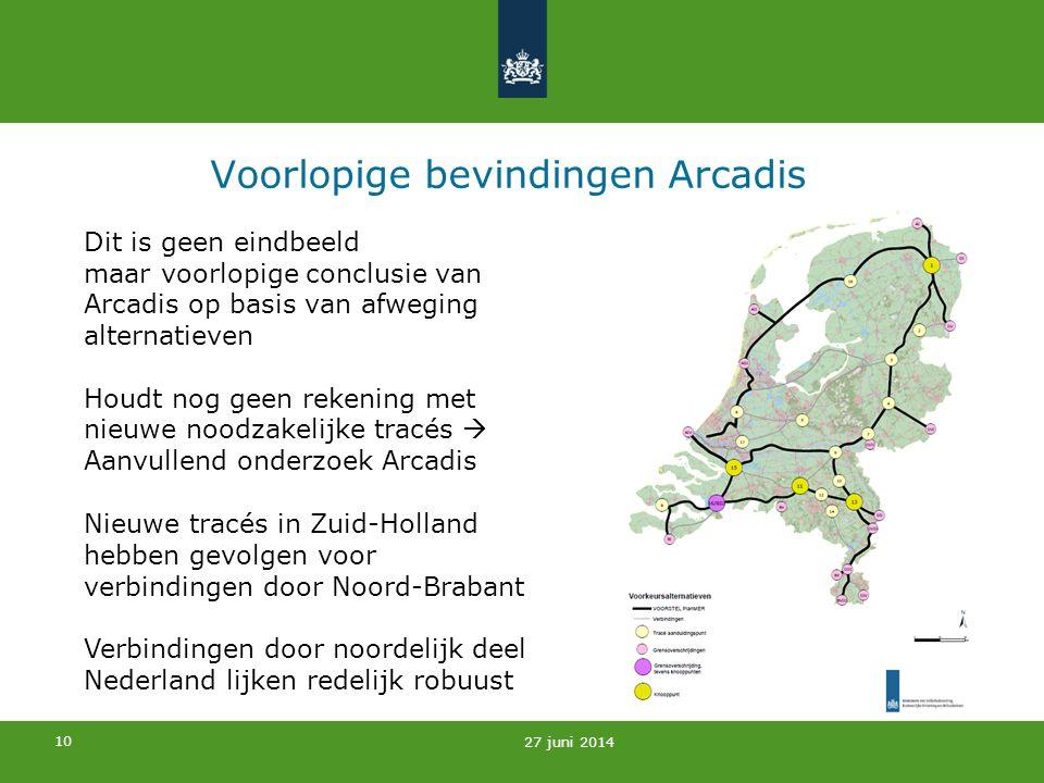 10 Voorlopige bevindingen Arcadis 27 juni 2014 Dit is geen eindbeeld maar voorlopige conclusie van Arcadis op basis van afweging alternatieven Houdt n