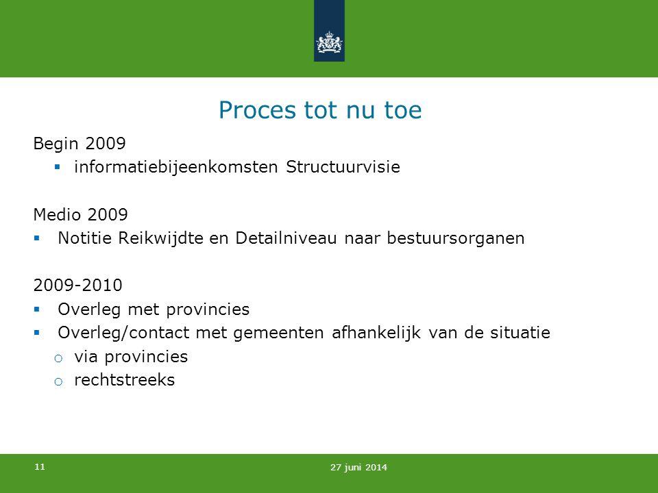 11 Proces tot nu toe Begin 2009  informatiebijeenkomsten Structuurvisie Medio 2009  Notitie Reikwijdte en Detailniveau naar bestuursorganen 2009-201