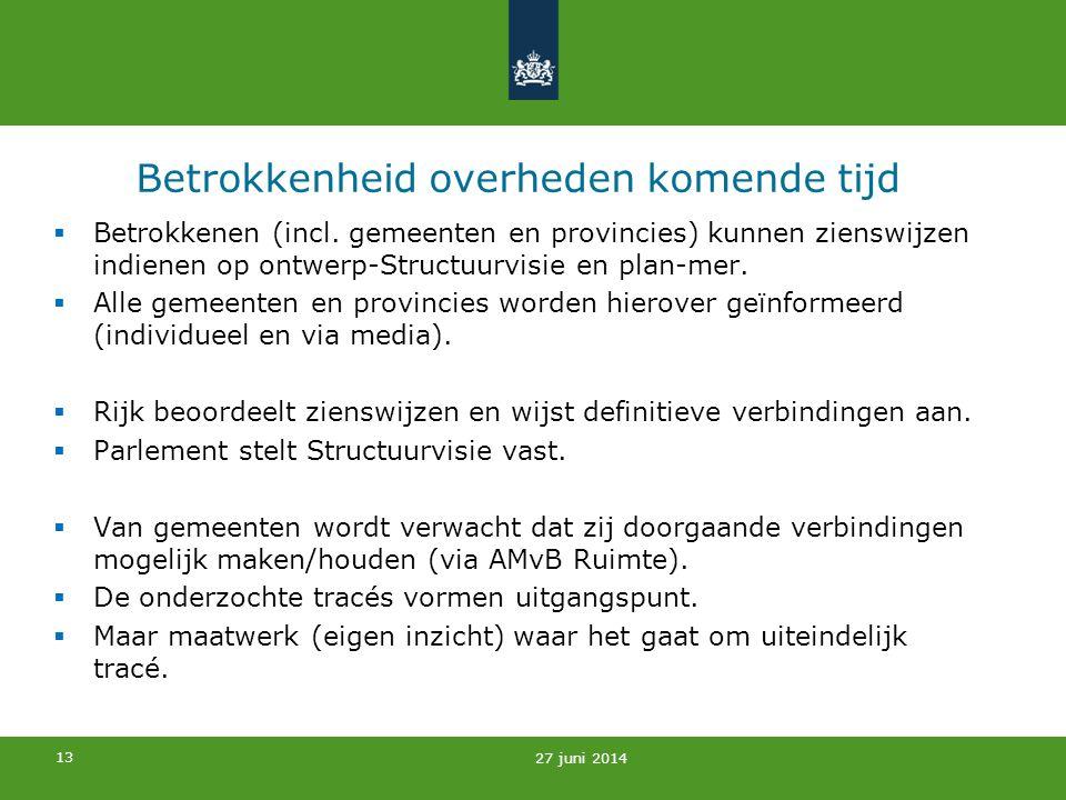 13 Betrokkenheid overheden komende tijd  Betrokkenen (incl. gemeenten en provincies) kunnen zienswijzen indienen op ontwerp-Structuurvisie en plan-me