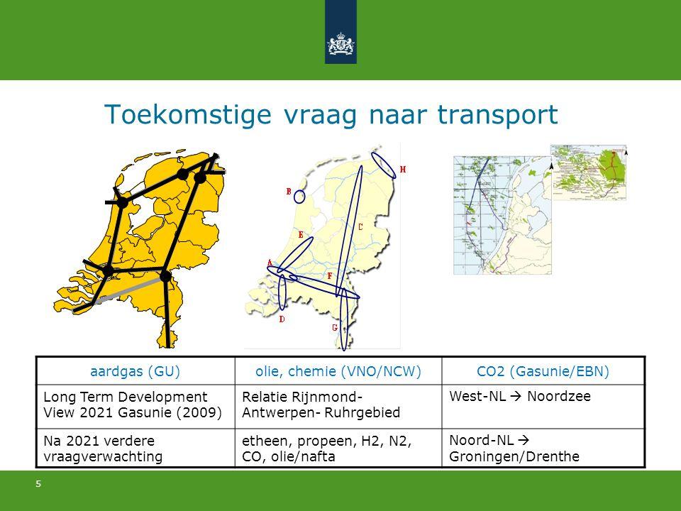 5 Toekomstige vraag naar transport aardgas (GU)olie, chemie (VNO/NCW)CO2 (Gasunie/EBN) Long Term Development View 2021 Gasunie (2009) Relatie Rijnmond