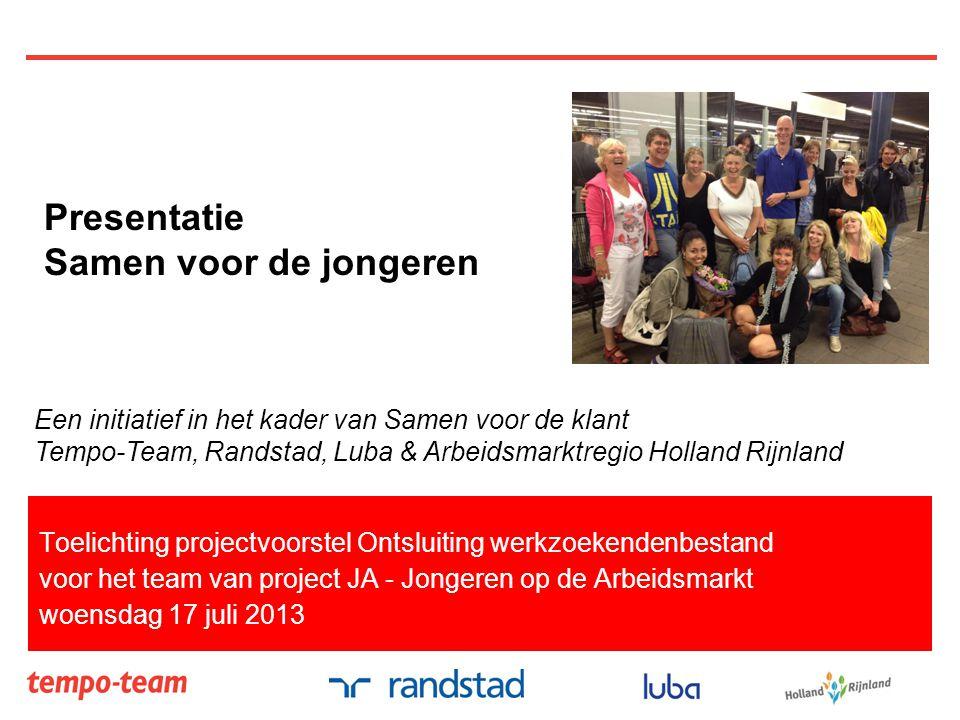 Toelichting projectvoorstel Ontsluiting werkzoekendenbestand voor het team van project JA - Jongeren op de Arbeidsmarkt woensdag 17 juli 2013 Presenta