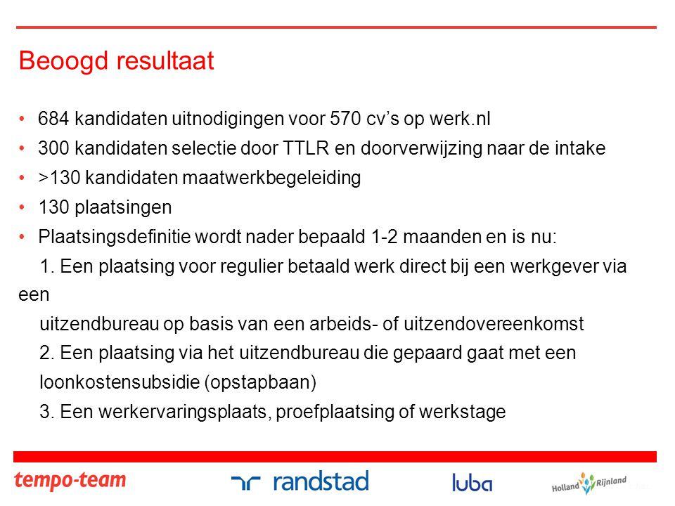 Beoogd resultaat •684 kandidaten uitnodigingen voor 570 cv's op werk.nl •300 kandidaten selectie door TTLR en doorverwijzing naar de intake •>130 kand