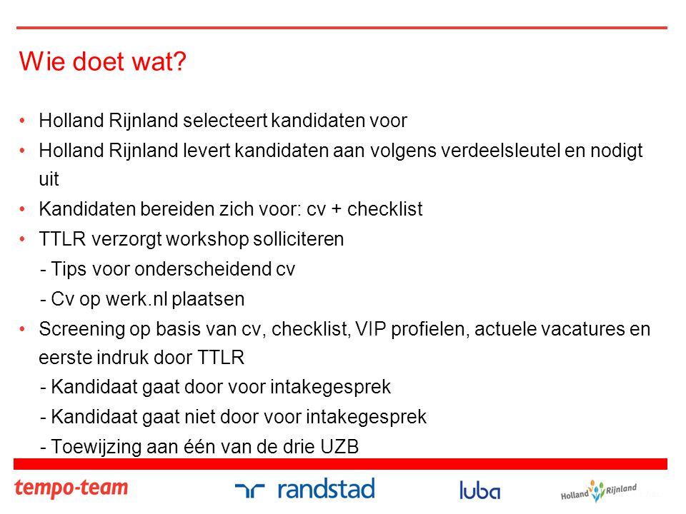 Wie doet wat? •Holland Rijnland selecteert kandidaten voor •Holland Rijnland levert kandidaten aan volgens verdeelsleutel en nodigt uit •Kandidaten be