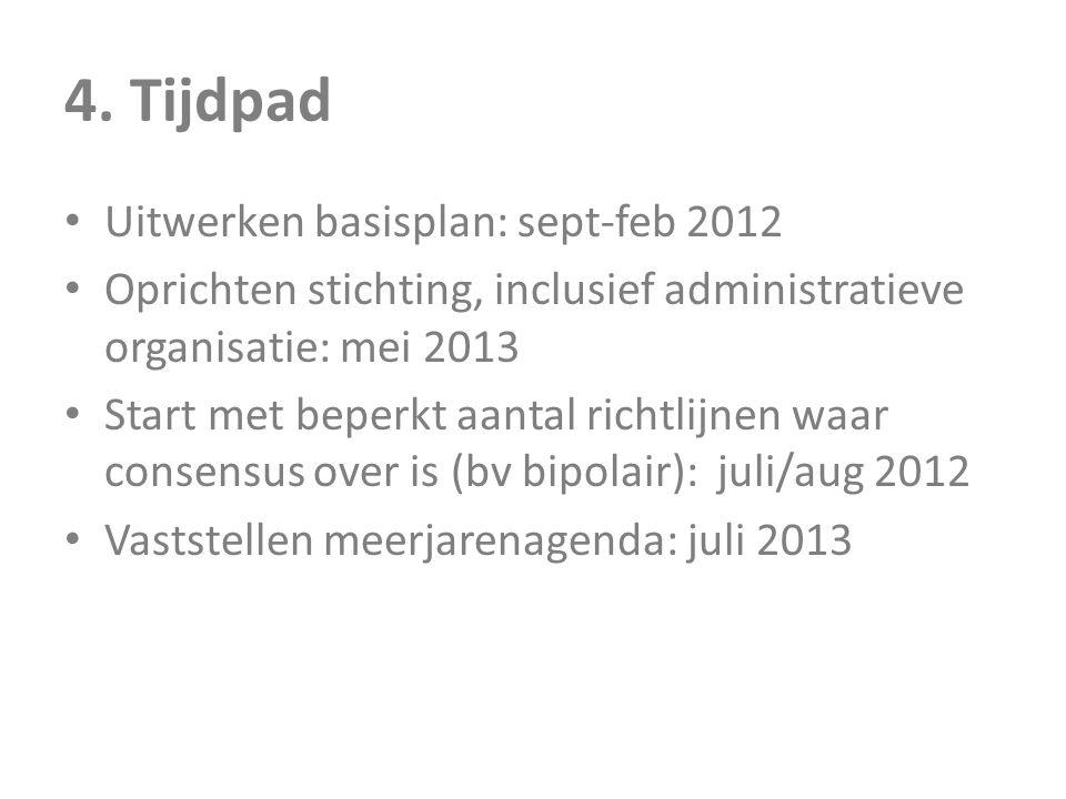 4. Tijdpad • Uitwerken basisplan: sept-feb 2012 • Oprichten stichting, inclusief administratieve organisatie: mei 2013 • Start met beperkt aantal rich