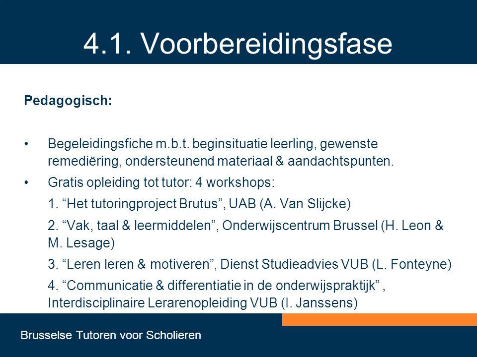 Brusselse Tutoren voor Scholieren 4.1. Voorbereidingsfase Pedagogisch: •Begeleidingsfiche m.b.t. beginsituatie leerling, gewenste remediëring, onderst