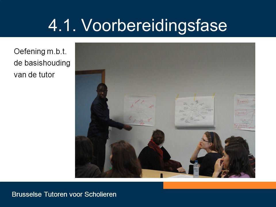 Brusselse Tutoren voor Scholieren 4.1. Voorbereidingsfase Oefening m.b.t. de basishouding van de tutor