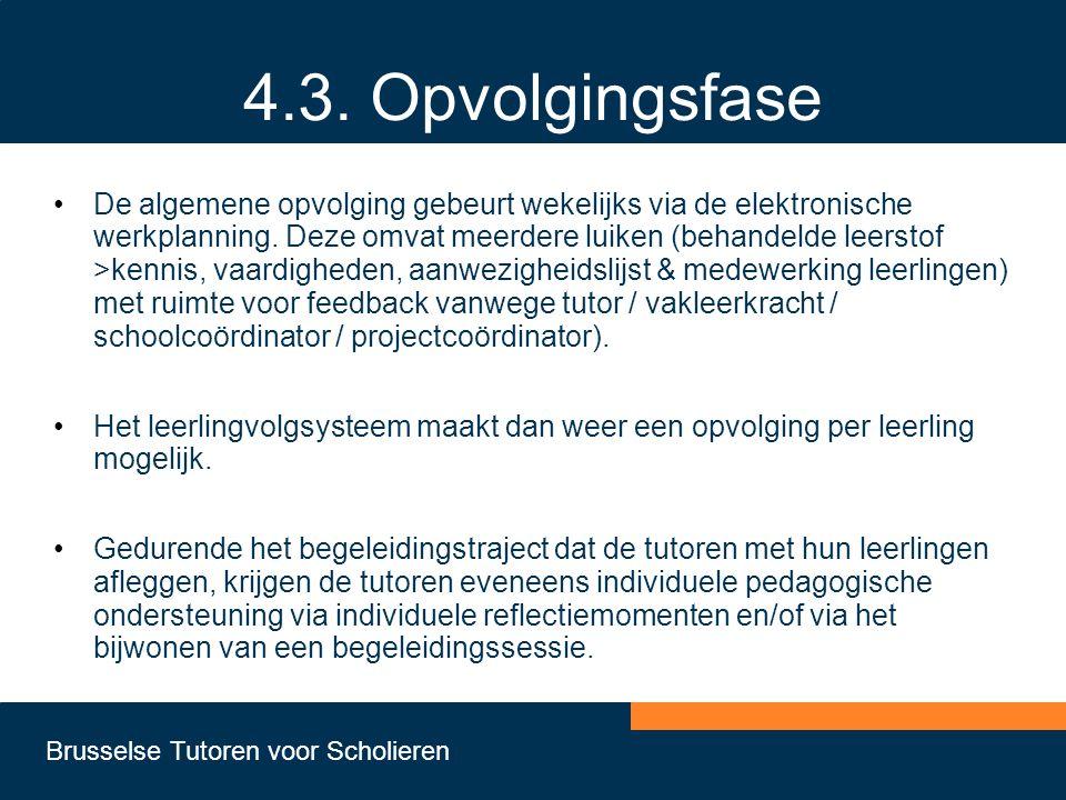 Brusselse Tutoren voor Scholieren 4.3. Opvolgingsfase •De algemene opvolging gebeurt wekelijks via de elektronische werkplanning. Deze omvat meerdere