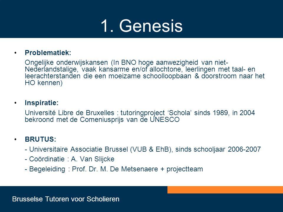 Brusselse Tutoren voor Scholieren 1. Genesis •Problematiek: Ongelijke onderwijskansen (In BNO hoge aanwezigheid van niet- Nederlandstalige, vaak kansa