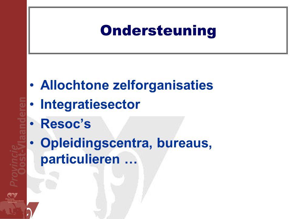 Ondersteuning •Allochtone zelforganisaties •Integratiesector •Resoc's •Opleidingscentra, bureaus, particulieren …