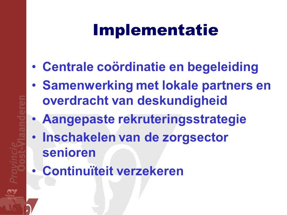 Implementatie •Centrale coördinatie en begeleiding •Samenwerking met lokale partners en overdracht van deskundigheid •Aangepaste rekruteringsstrategie