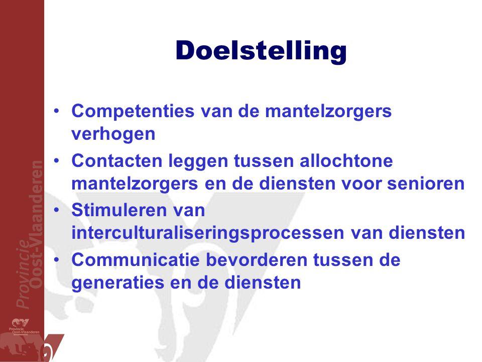 Doelstelling •Competenties van de mantelzorgers verhogen •Contacten leggen tussen allochtone mantelzorgers en de diensten voor senioren •Stimuleren va