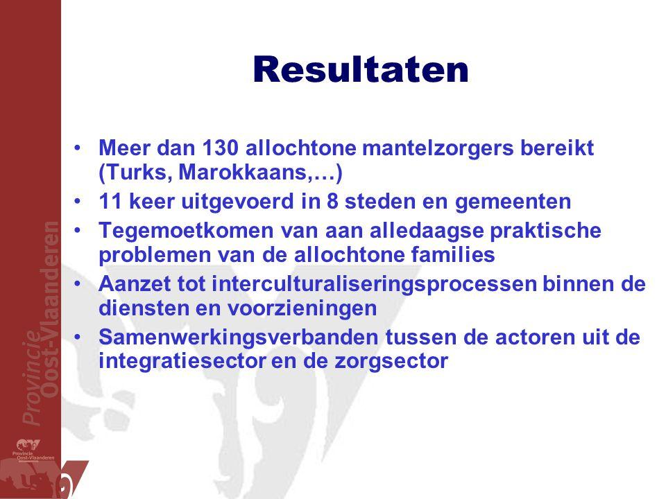 Resultaten •Meer dan 130 allochtone mantelzorgers bereikt (Turks, Marokkaans,…) •11 keer uitgevoerd in 8 steden en gemeenten •Tegemoetkomen van aan al