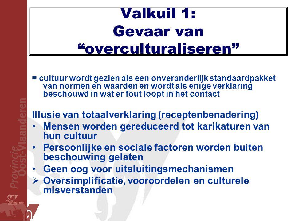 """Valkuil 1: Gevaar van """"overculturaliseren"""" = cultuur wordt gezien als een onveranderlijk standaardpakket van normen en waarden en wordt als enige verk"""