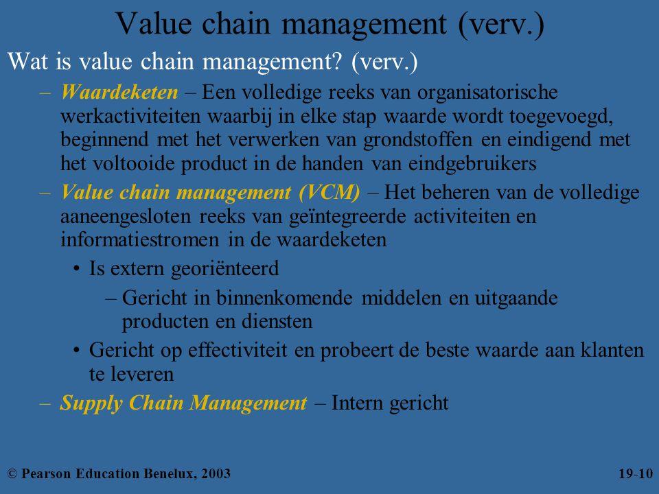 Wat is value chain management? (verv.) –Waardeketen – Een volledige reeks van organisatorische werkactiviteiten waarbij in elke stap waarde wordt toeg