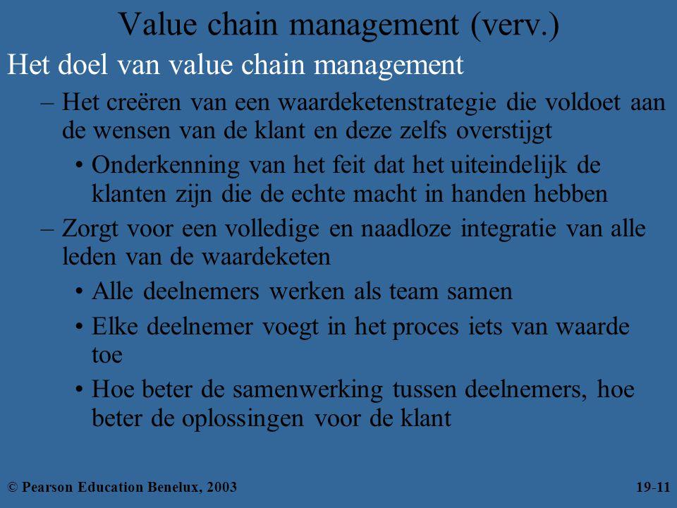 Value chain management (verv.) Het doel van value chain management –Het creëren van een waardeketenstrategie die voldoet aan de wensen van de klant en