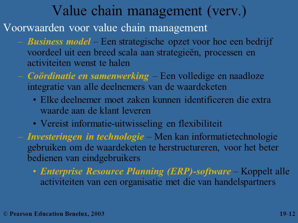 Value chain management (verv.) Voorwaarden voor value chain management –Business model – Een strategische opzet voor hoe een bedrijf voordeel uit een