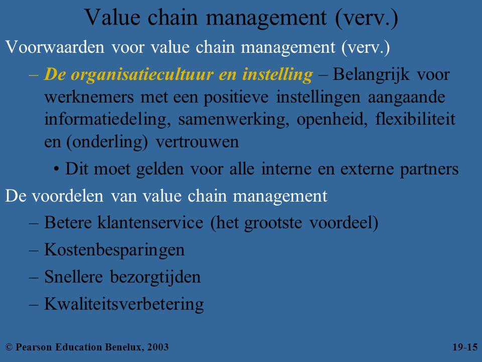 Value chain management (verv.) Voorwaarden voor value chain management (verv.) –De organisatiecultuur en instelling – Belangrijk voor werknemers met e