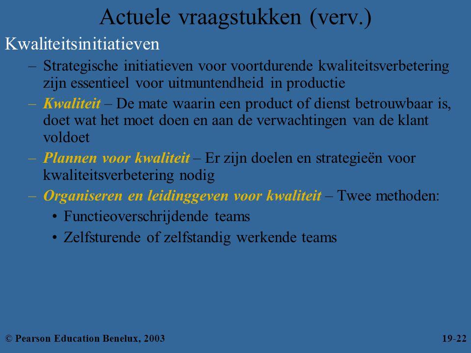 Actuele vraagstukken (verv.) Kwaliteitsinitiatieven –Strategische initiatieven voor voortdurende kwaliteitsverbetering zijn essentieel voor uitmuntend