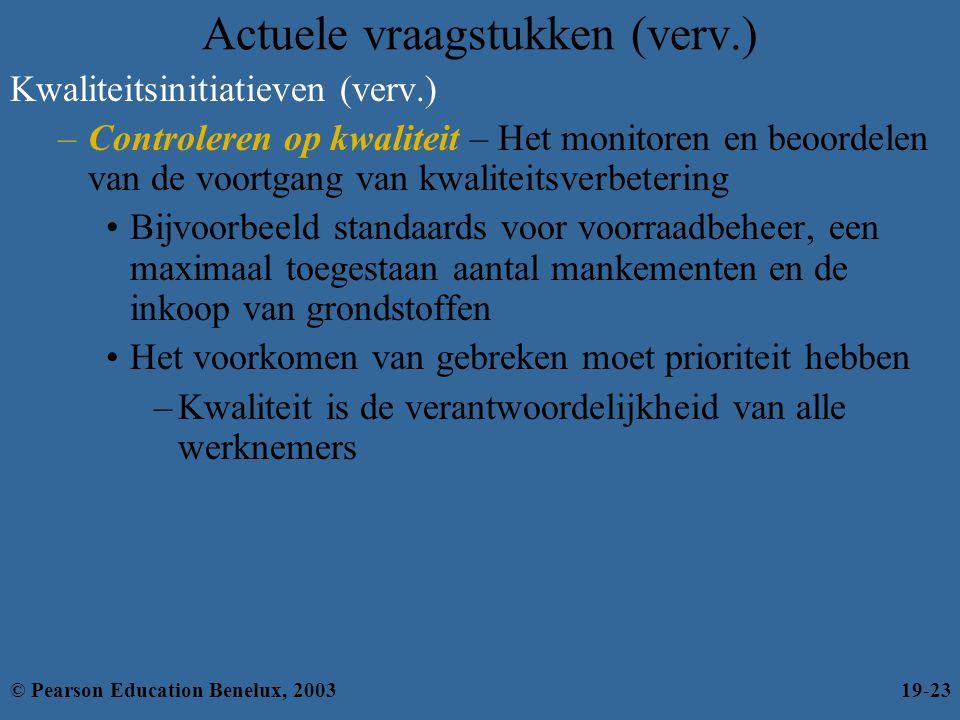 Actuele vraagstukken (verv.) Kwaliteitsinitiatieven (verv.) –Controleren op kwaliteit – Het monitoren en beoordelen van de voortgang van kwaliteitsver