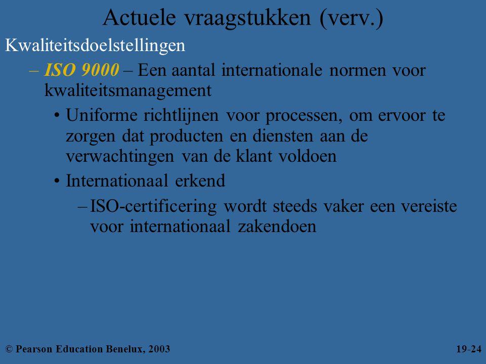 Actuele vraagstukken (verv.) Kwaliteitsdoelstellingen –ISO 9000 – Een aantal internationale normen voor kwaliteitsmanagement •Uniforme richtlijnen voo
