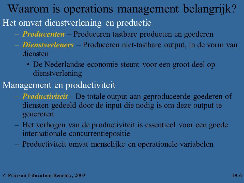 Waarom is operations management belangrijk? Het omvat dienstverlening en productie –Producenten – Produceren tastbare producten en goederen –Dienstver