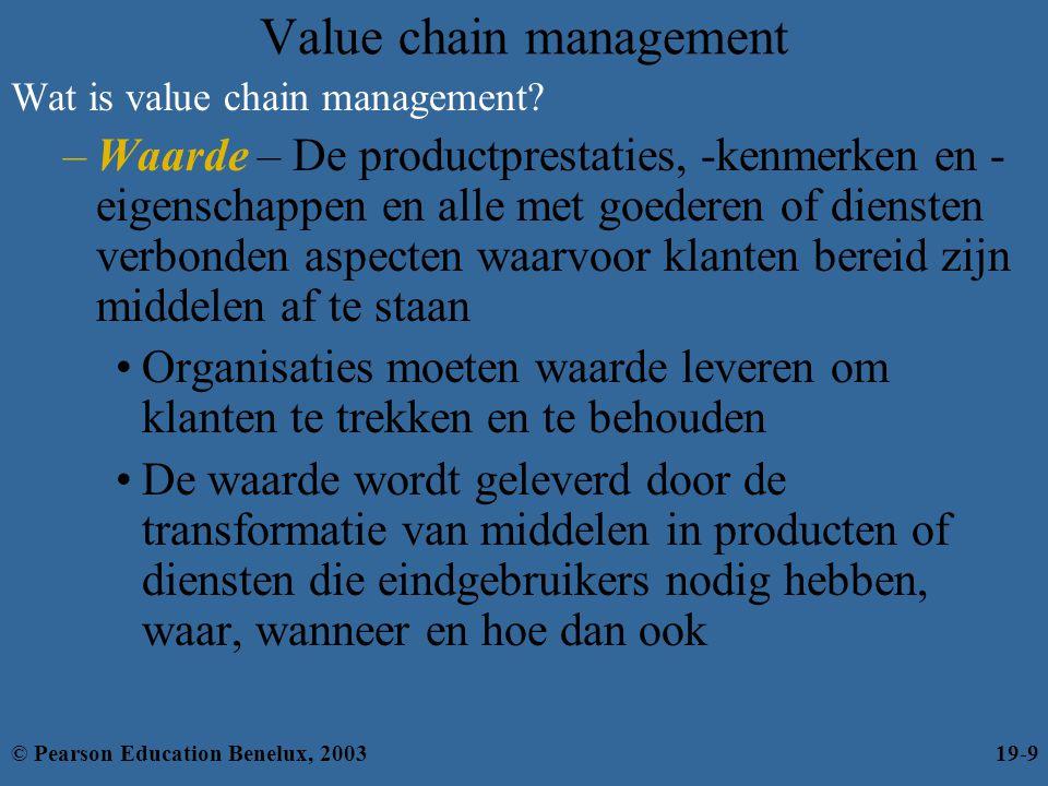 Value chain management Wat is value chain management? –Waarde – De productprestaties, -kenmerken en - eigenschappen en alle met goederen of diensten v