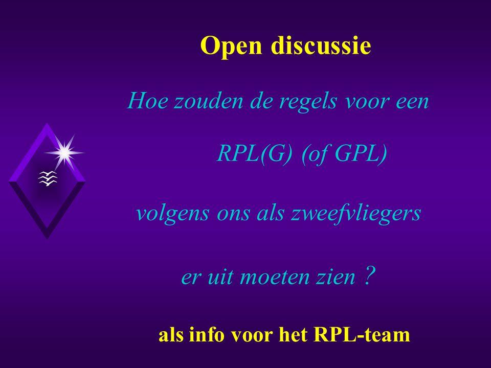 Het RPL(G): Nu en in de nabije toekomst Onderwerpen I.