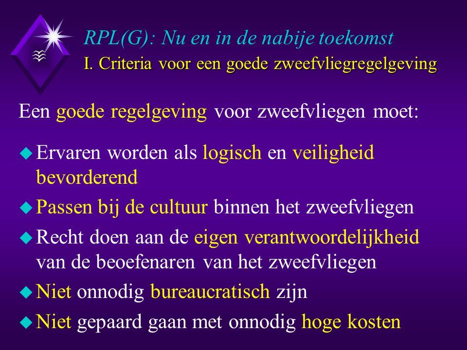 I. Criteria voor een goede zweefvliegregelgeving RPL(G): Nu en in de nabije toekomst I.