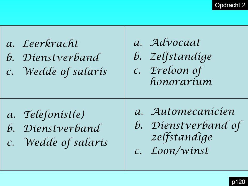 a.Leerkracht b.Dienstverband c.Wedde of salaris a.Advocaat b.Zelfstandige c.Ereloon of honorarium a.Telefonist(e) b.Dienstverband c.Wedde of salaris a