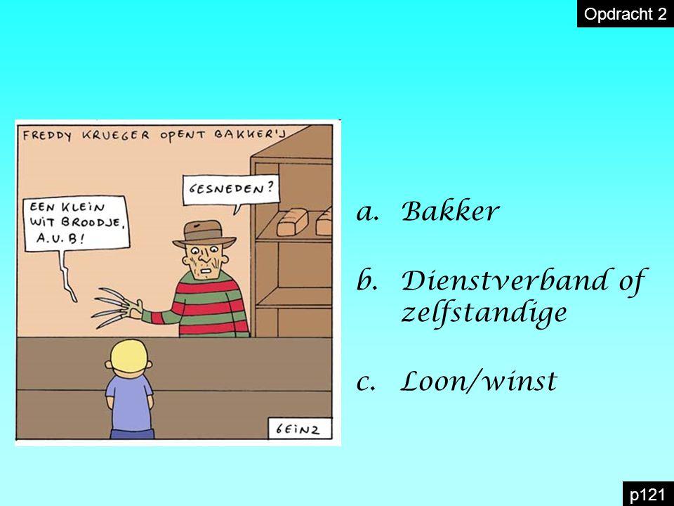 a.Bakker b.Dienstverband of zelfstandige c.Loon/winst Opdracht 2 p121