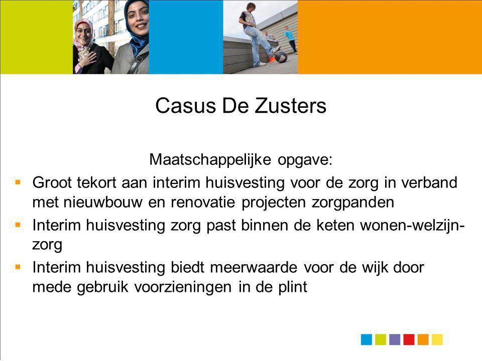 Casus De Zusters Maatschappelijke opgave:  Groot tekort aan interim huisvesting voor de zorg in verband met nieuwbouw en renovatie projecten zorgpand